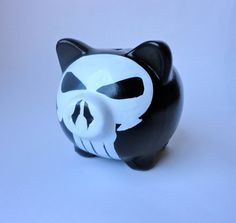 a Punisher piggy bank, also a christmas present Punisher, Christmas Presents, Piggy Bank, Comic, Husband, Hand Painted, Cool Stuff, Unique Jewelry, Handmade Gifts