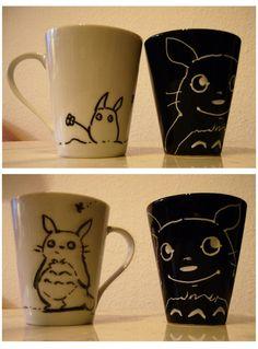 totoro cups (es muy hermozo ver como algo tan simple es tan kawaii)