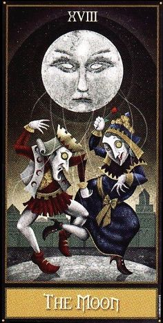 "The moon exerts a powerful influence, and yet can be unclear and uncertain. The Moon in other tarot decks often means the subconscious, confusion, mystery, dreams, and often shows . Here it can mean the same, but also warns of brainwashing, mind control, manipulation, trickery and illusion. Be aware of outside influences upon you as you journey on your path. Also be aware of your own weaknesses, your ""shadow self"", and the influences your own fears have upon you and the way you see the…"