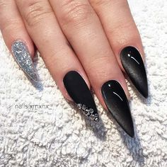 18 Trendy Black Nails Designs for Dark Colors Lovers ★ Black Nails with Bright Glitter Designs Picture 2 ★ See more: http://glaminati.com/black-nails-designs/ #blacknails #blacknailsdesigns