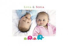 Geburtskarte Zwillinge 4 Fotos by Marion Bizet für Rosemood.de #Babykarte  #Zwillinge