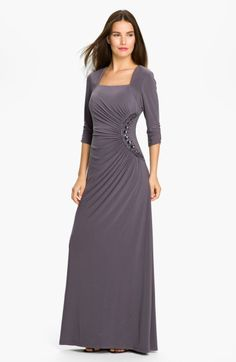 Adrianna Papell Beaded Jersey Gown in Gray (slate) $158