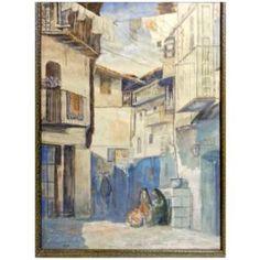 Carl Von Hassler (German, 1887-1969)  Street Scene in Mogarraz, Spain, 1919 $3900