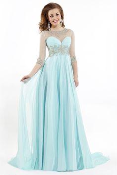 2015 Bateau 3/4 Length Sleeve A-Line/Princess Prom Dresses With Beads And Ruffles