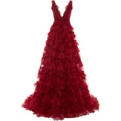 Marchesa Embroidered V-Neck Tulle Ball Gown (26.490.240 COP) ❤ liked on Polyvore featuring dresses, gowns, long dresses, vestidos, red, marchesa gowns, deep v neck dress, deep v-neck dress, red ball gown and embroidered gown