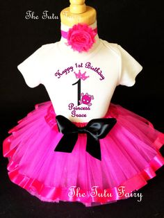 Skull Rock N Roll Princess Hot Pink Black 1st by TheTutuFairy