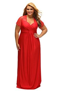 45a2b92ae6361 online shopping for Lalagen Women s Lace Sleeve V Neck Plus Size Evening  Maxi Dress Gown from top store. See new offer for Lalagen Women s Lace  Sleeve V ...