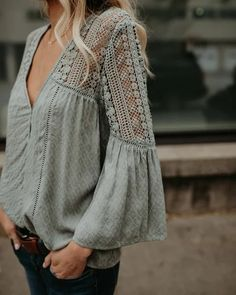 PREORDER – Du Jour Crochet Blouse – Sage The crochet details and v-neck cut take this top from just so-so to excellent. I would wear this a ton! Fashion News, Boho Fashion, Autumn Fashion, Fashion Dresses, Womens Fashion, Fashion Games, 80s Fashion, Hijab Fashion, Fashion Clothes