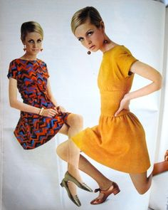 Photo, Twiggy...vintage fashion style color photo print ad 60s mod yellow dress cap sleeves full skirt floral red dress mini skirt day casual shoes