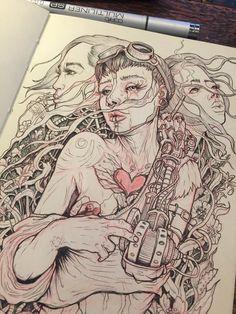 Copic, Girl Sketch, Sketch Art, Illustration Art Drawing, Inspirational Artwork, Sketchbook Inspiration, Elements Of Art, Illustrations And Posters, Artist At Work