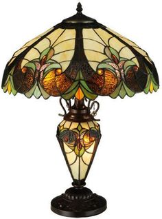 Luxurious Victorian Tiffany Table Lamp-Stylized fleurs grow with Leafy Green glass & Amethyst Ripple glass-Amber jewels-Brown Ripple glass-Beige background. Art Nouveau, Art Deco, Tiffany Table Lamps, Table Lamp Sets, Victorian Table Lamps, Antique Lamps, Stained Glass Lamps, Leaded Glass, Art Moderne