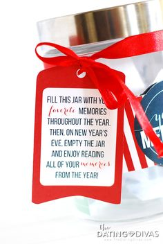 Printable Gift Tag For Year Of Memories Jar- fun New Years Eve family or couple tradition