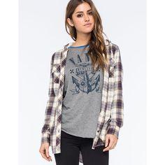Full Tilt Boyfriend Womens Sherpa Hooded Flannel Shirt featuring polyvore, fashion, clothing, tops, cream combo, plaid boyfriend shirt, boyfriend shirt, long sleeve tops, layered tops and long sleeve flannel shirt
