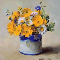 Buttercups and Daisies - Blank Card | Mill House Fine Art – Publishers of Anne Cotterill Flower Art