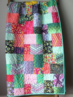 Modern Lap Quilt- Eden Quilt This quilt is completed and ready to ship to you! This modern, bold lap quilt features all the fabrics from Tula Pinks Heather Bailey, Boy Quilts, Girls Quilts, Neutral Quilt, Toddler Quilt, Boho, String Art, Beautiful Patterns, Scrappy Quilts
