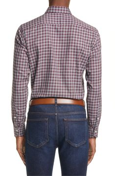 Canali - Regular Fit Check Dress Shirt in Red Size 17.5