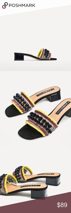 ZARA HAND BEADED MULES SLIDES BRAND NEW ZARA HAND BEADED MULES SLIDES BRAND NEW Zara Shoes Mules & Clogs