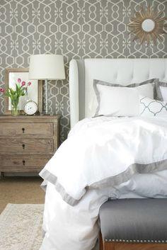 Crane & Canopy's Linden Gray Bedding. Love the wallpaper.