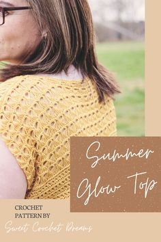 Broomstick lace summer top pattern by Sweet Crochet Dreams available on Etsy and Ravelry Broomstick Lace Crochet, Fingering Yarn, Summer Glow, Top Pattern, Crochet Hooks, Ravelry, Crochet Patterns, Dreams, Sweet
