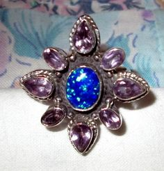 RING   - Blue OPAL - AMETHYST - Bling - 925 - Sterling Silver - size 7 purple79 by MOONCHILD111 on Etsy