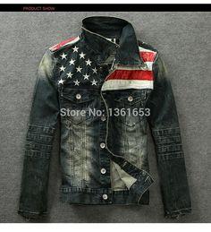 American flag denim jacket for men Fashion motorcycle coat cowboy jacket denim coat denim jacket with fur for men