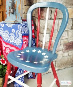 Give old chairs a new look with paint and fabric. This flag chair was a $5 yard sale find. Get more chair makeover ideas at @aptsforrent