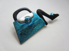 Shoe and Purse Pin Brooch in teal and black by Pinderella on Etsy