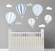 Blue Balloon Decals,Boys Room Wall Decals,Hot Air Balloon Decor,Hot Air Balloon Nursery Decals,Blue And Grey Vintage Hot Air Balloon Childrens Wall Decals, Nursery Decals, Nursery Room, Baby Bedroom, Balloon Wall, Hot Air Balloon, Wall Stickers Murals, Vinyl Wall Decals, Blue Balloons