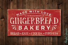 Gingerbread Sign Bakery Decor Bakery Sign Kitchen by RightGrain Holiday Signs, Christmas Signs, Christmas Projects, Christmas Holidays, Christmas Decorations, Christmas Ideas, Christmas Quotes, Winter Holiday, Homemade Christmas