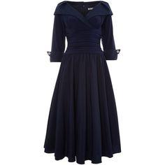 Eliza J 3/4 sleeve ruched waist dress (€74) ❤ liked on Polyvore