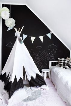 Your kids will never be too cute for a teepee! Give their room a fun revamp w/ a unique DIY teepee & adorable chalkboard wall. Be sure to add cute age-appropriate accessories! White Kids Room, White Nursery, Blog Deco, Modern Kids, Kids Room Design, Black Walls, White Walls, Kid Spaces, Kids Bedroom