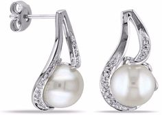 Sterling Silver FW Pearl And Diamond Accent Earrings Stylish Jewelry #earrings