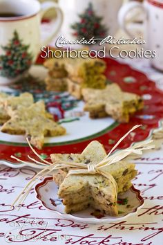 Pistachio-Chocolate Shortbread Cookies | ASpicyPerspective.com #cookies #christmascookies #cookieexchange