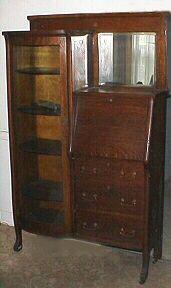 An oak secretary bookcase