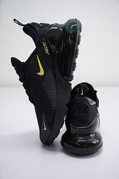 buy online 98c10 f9772 NIKE AIR MAX 270 WHOLE BLACK WITH GOLD SWOOSH RUNNING SHOES AH8050 007