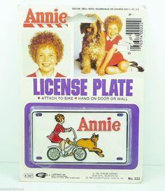 1981 Little Orphan Annie Bike License Plate NOS