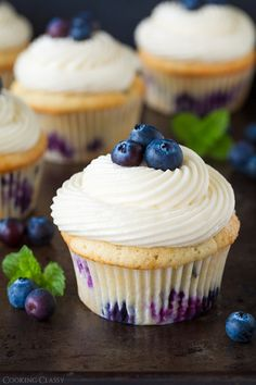 Blueberry Cupcakes with Cream Cheese Frosting - Cooking Classy by MyLittleCornerOfTheWorld