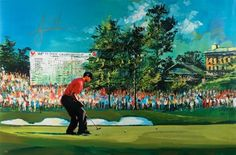TIGER WOODS Signed 2008 US Open Art By Malcolm Farley UDA LE 25 - Game Day Legends