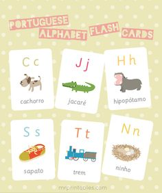 Free Portuguese Alphabet Flash Cards (Scott is adamant about Helen learning Portuguese because he can practice with her) Mais How To Speak Portuguese, Learn Brazilian Portuguese, Portuguese Lessons, Portuguese Language, Spanish Language, Language Lessons, Foreign Language, Japanese Language, French Language