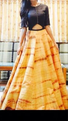 Indo western dress.. top idea would work for a kurta or sari blouse.