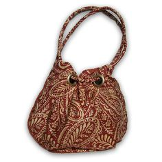 Grommet purse, rust paisley fabric purse (Romance) from the VireoCollection.