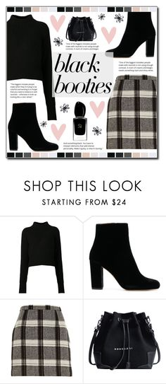"""Back to Basics: Black Booties"" by ana-a-m ❤ liked on Polyvore featuring Acne Studios, River Island, Giorgio Armani and blackbooties"