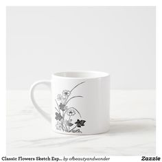 Classic Flowers Sketch Espresso Mug - drawing sketch design graphic draw personalize Mug Drawing, Extra Large Coffee Mugs, Flower Sketches, Retro Ideas, Personalized Products, Mug Designs, Vintage Gifts, Floral Flowers, Espresso