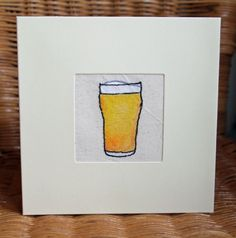 Handmade 'beer' card made with free machine embroidery by ClobberCreations on Etsy