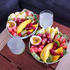 Lunchtime Fruit Salads & Coconut Water with Lime