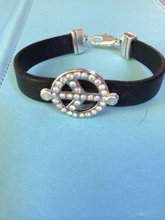 Crystal Peace Sign and Leather Bracelet by joytoyou41 on Etsy, $27.00