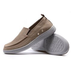 Canvas Breathable Stitching Slip On Lazy Loafers For Men ($22) ❤ liked on Polyvore featuring men's fashion, men's shoes, mens brown loafer shoes, mens slipon shoes, mens summer shoes, mens brown shoes and mens blue slip on shoes