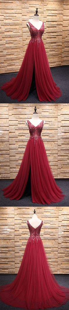 Burgundy v neck beads tulle long prom dress, burgundy evening dress, burgundy formal dress