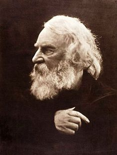 """Henry Wadsworth Longfellow, born February 27,1807, and pictured here sporting his wavy white coif.   He once wrote, """"The love of learning, the sequestered nooks, And all the sweet serenity of books."""" (What a great library thought!)"""
