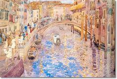 Maurice Prendergast American Impressionist Painting - Venetian Canal Scene 1898-99 Painting